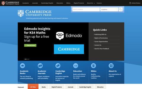 Screenshot of Home Page cambridge.org - Home   Cambridge University Press - captured Jan. 13, 2016