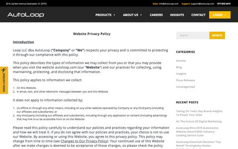 Screenshot of Privacy Page autoloop.com - Privacy Policy - AutoLoop - captured March 14, 2019