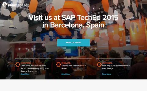 Screenshot of Landing Page purestorage.com - Pure Storage | SAP TechEd Barcelona - captured April 16, 2016