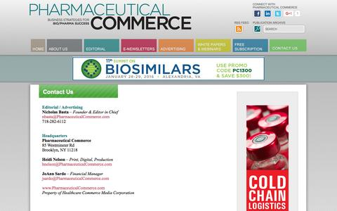 Screenshot of Contact Page pharmaceuticalcommerce.com - Contact Us - captured Dec. 8, 2015