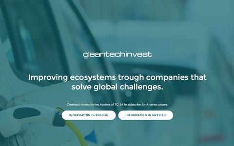 Screenshot of Home Page cleantechinvest.com - Home - Cleantech Invest - captured Nov. 7, 2016