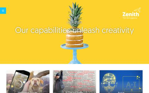 Screenshot of Case Studies Page zenithmedia.co.uk - Our Work – Zenith - captured Jan. 13, 2018