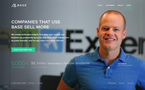 Screenshot of Home Page getbase.com - Intelligent Sales Productivity Platform | Base CRM - captured Jan. 14, 2015