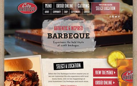 Screenshot of Home Page citybbq.com - City Barbeque - The Best Barbeque in the City - captured Sept. 20, 2015