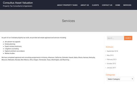 Screenshot of Services Page consultus.biz - Services – Consultus Asset Valuation - captured Sept. 29, 2018