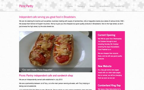 Screenshot of About Page picnicpantry.co.uk - About Us at Picnic Pantry Cafe Broadstairs cafe and food services - captured Oct. 4, 2014