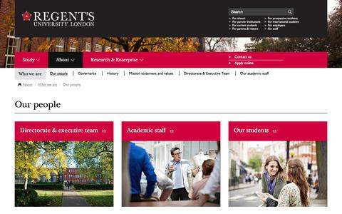 Screenshot of Team Page regents.ac.uk - Regent's University London - About - Who we are - Our people - captured Jan. 19, 2016