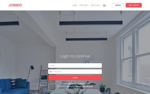 Screenshot of Login Page jobbio.com - | Jobbio - captured Oct. 24, 2018