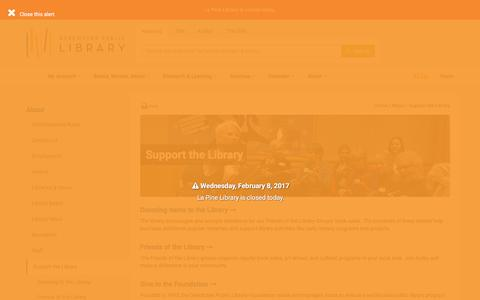 Screenshot of Support Page deschuteslibrary.org - Support the Library - Deschutes Public Library - captured Feb. 8, 2017