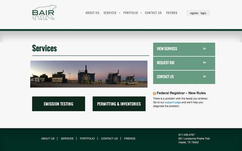 Screenshot of Services Page bairquality.com - Services | BAIRBAIR - captured Oct. 3, 2014