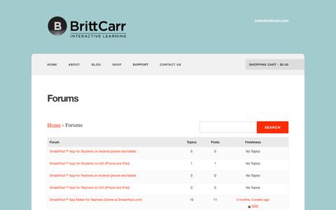 Screenshot of Support Page brittcarr.com - Forums –  Britt Carr Interactive Learning - captured Oct. 5, 2014
