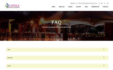 Screenshot of FAQ Page lotels.net - FAQ's for hotel lotels serviced apartments in velachery - captured Sept. 10, 2017