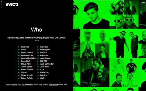Screenshot of Home Page wcd.wtf - #WCD Hardwell, Avicii, Dimitri Vegas & Like Mike, Martin Garrix, Tiesto, David Guetta, Steve Aoki, Alesso, Showtek, W&W, Deorro, Krewella, Oliver Heldens, Dada Life, Martin Solveig, Sven Vath, Sascha Braemer, Adana Twins, Tube & Berger, Netsky, Mouss - captured Sept. 6, 2015
