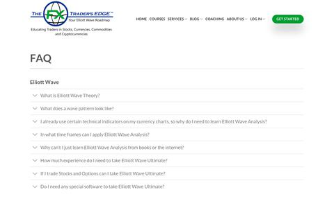 Screenshot of FAQ Page fxtradersedge.com - FAQ - FX Trader's Edge   Elliott Wave Trading Coach and Forex Trading System - captured Oct. 19, 2018