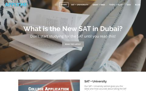 Screenshot of Home Page apply-me.com - APPLY ME - Test Prep and Admissions in Dubai and UAE - captured Feb. 5, 2016