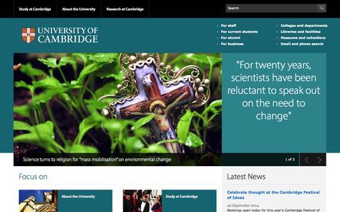 Screenshot of Home Page cam.ac.uk - University of Cambridge - captured Sept. 18, 2014