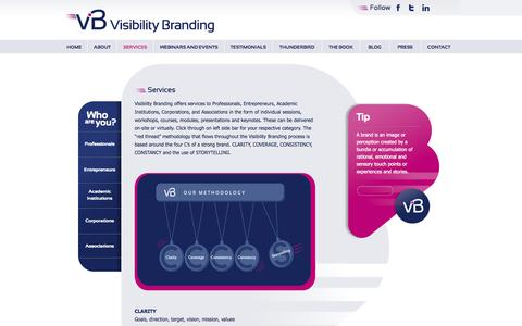 Screenshot of Services Page visibilitybranding.fr - Services | Visibility Branding - captured Oct. 9, 2014