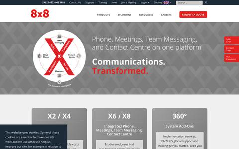 Screenshot of Products Page 8x8.com - Business VoIP | Business Phone Services | 8x8, Inc. - captured Oct. 18, 2018