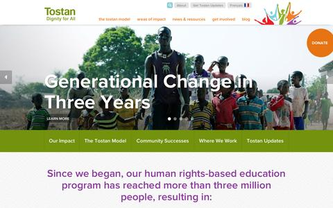 Screenshot of Home Page tostan.org - Tostan | Dignity for All - captured Oct. 7, 2014