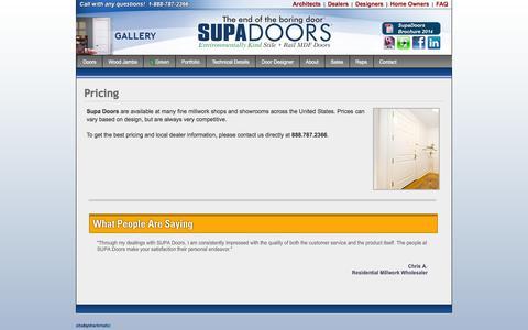 Screenshot of Pricing Page supadoor.com - Supa Doors   Pricing - captured Sept. 30, 2014