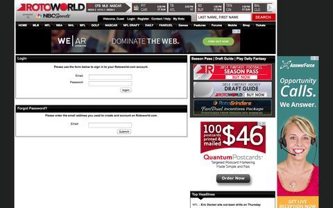 Screenshot of Login Page rotoworld.com - Rotoworld - Fantasy Sports, Baseball, Basketball, Football, Hockey - news, draft guide, draft kit, projections, trade analyzer and more. - captured Sept. 19, 2014