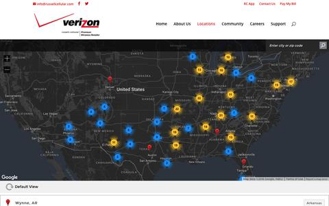 Screenshot of Locations Page russellcellular.com - Locations | Russell Cellular - captured Aug. 9, 2016
