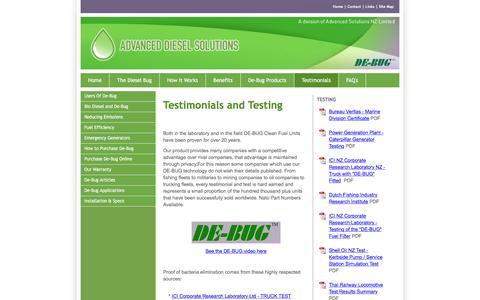 Screenshot of Testimonials Page dieselsolutions.co.nz - Advanced Diesel Solutions New Zealand - captured Feb. 5, 2016