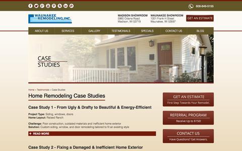 Screenshot of Case Studies Page waunakeeremodeling.com - Home Remodeling Case Studies | WaunakeeRemodeling.com - captured Feb. 26, 2016