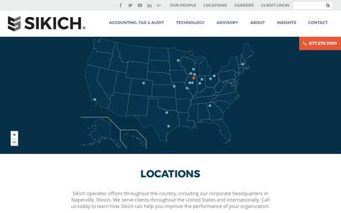 Screenshot of Locations Page sikich.com - Locations - Sikich LLP - captured Oct. 12, 2017