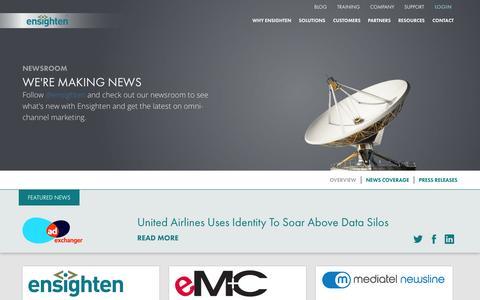Screenshot of Press Page ensighten.com - Featured News Updates and Press About Ensighten - Ensighten - captured July 3, 2015