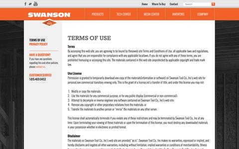 Screenshot of Terms Page swansontoolco.com - Terms of Use - Swanson Tool Company - captured Feb. 16, 2016