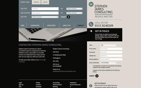 Screenshot of Contact Page stephenjamesconsulting.co.uk - Stephen James Consulting - Professional recruitment solutions - captured Oct. 7, 2014