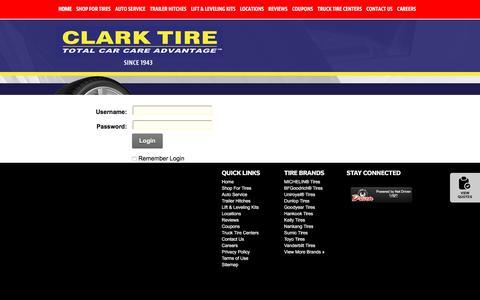 Screenshot of Login Page clarktire.com - User Log In - captured July 13, 2016