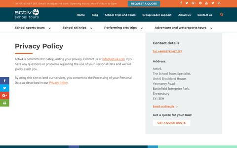 Screenshot of Privacy Page activ4.com - Privacy Policy - captured July 31, 2018