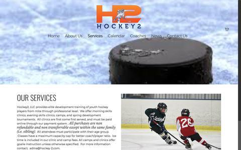 Screenshot of Services Page hockey-2.com - Services    Hockey 2 LLC - captured Aug. 22, 2017
