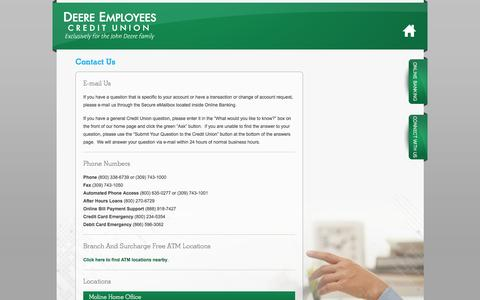 Screenshot of Locations Page dccu.com - Contact Us - Deere Employees CU - captured Oct. 5, 2014