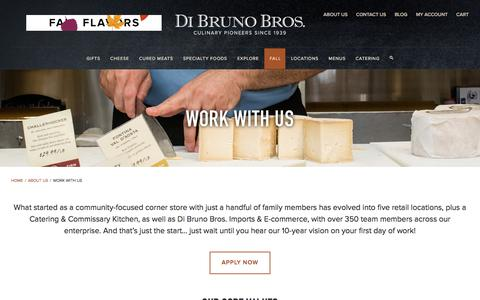 Screenshot of Jobs Page dibruno.com - Work With Us | Di Bruno Bros. - captured Oct. 12, 2017