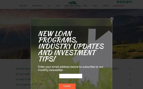 Screenshot of FAQ Page lantzmanlending.com - Lantzman FAQ - - Hard Money Lenders - captured July 11, 2016