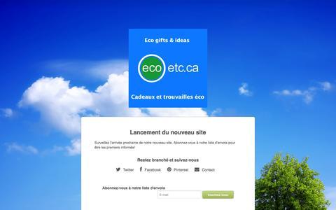 Screenshot of Home Page ecoetc.ca - La boutique Ecoetc.ca - captured July 18, 2015