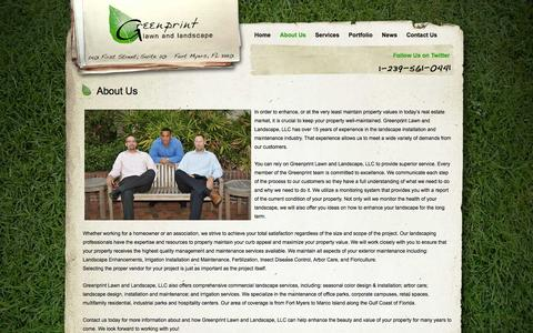 Screenshot of About Page greenprintlawncare.com - Fort Myers Lawn Care   About Us   Greenprint Lawn & Landscape - captured Oct. 3, 2014