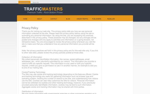 Screenshot of Privacy Page traffic-masters.net - Privacy Policy - captured Sept. 22, 2014