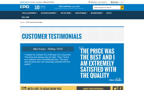 Screenshot of Testimonials Page cpooutlets.com - CPO Outlets | Testimonials | What Our Customer Are Saying - captured July 19, 2014