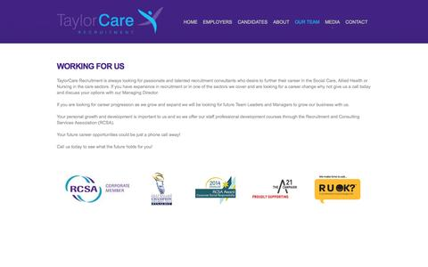 Screenshot of Team Page taylorcare.com.au - TaylorCare | Working For Us - Childcare Recruiter – Social Care Recruiter - Jobs - captured Oct. 26, 2014