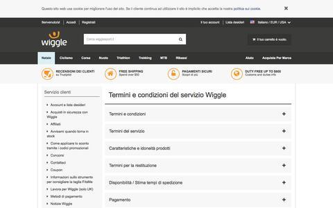 Screenshot of Terms Page wigglesport.it - Wiggle Servizio clienti - captured Dec. 4, 2016