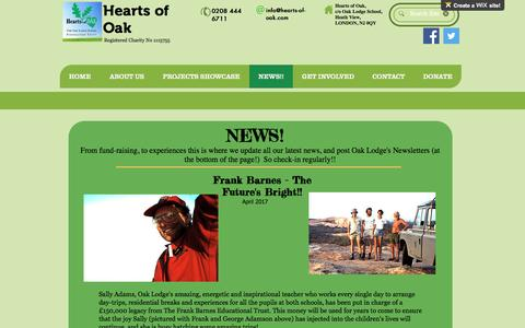 Screenshot of Press Page hearts-of-oak.org - online-fundraising   NEWS!! - captured May 16, 2017