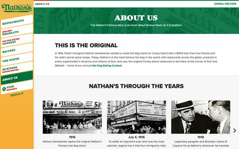 Screenshot of About Page nathansfamous.com - About Us | Nathan's Famous - captured March 22, 2019