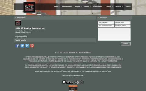 Screenshot of Services Page smartrealtyservices.ca - Contact Information for SMART Realty Services Inc. - captured Feb. 2, 2016