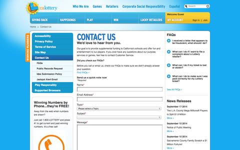 Screenshot of Contact Page calottery.com - Contact Us - captured Sept. 18, 2014