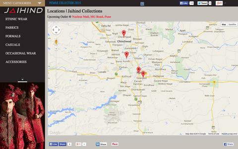 Screenshot of Locations Page jaihindcollections.com - Locations - captured Oct. 3, 2014