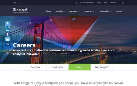 Screenshot of Jobs Page xangati.com - Career Opportunities at Xangati - captured Aug. 11, 2017
